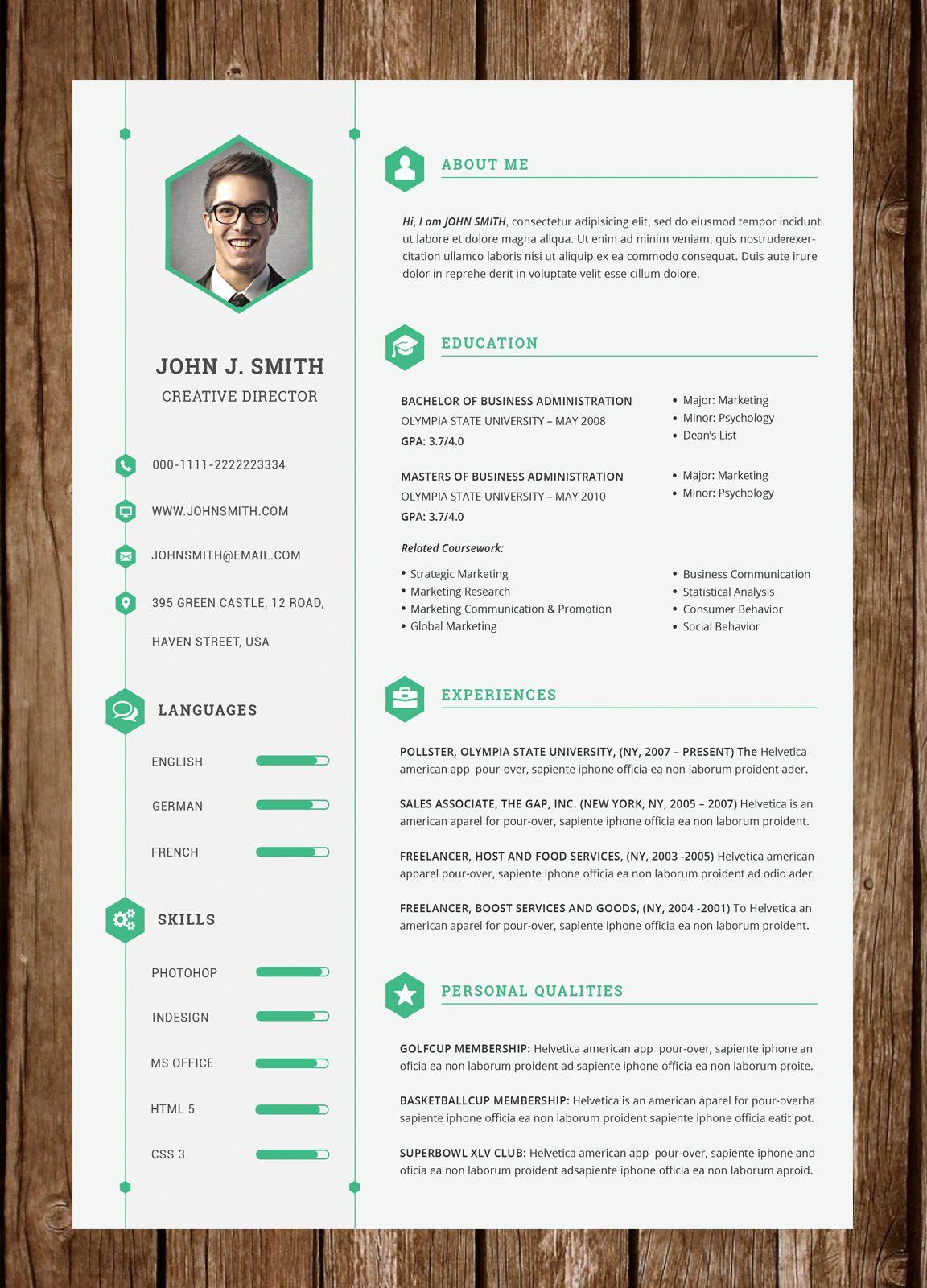 Resume 47 Resume Design Cv Design Creative Resume Template Word