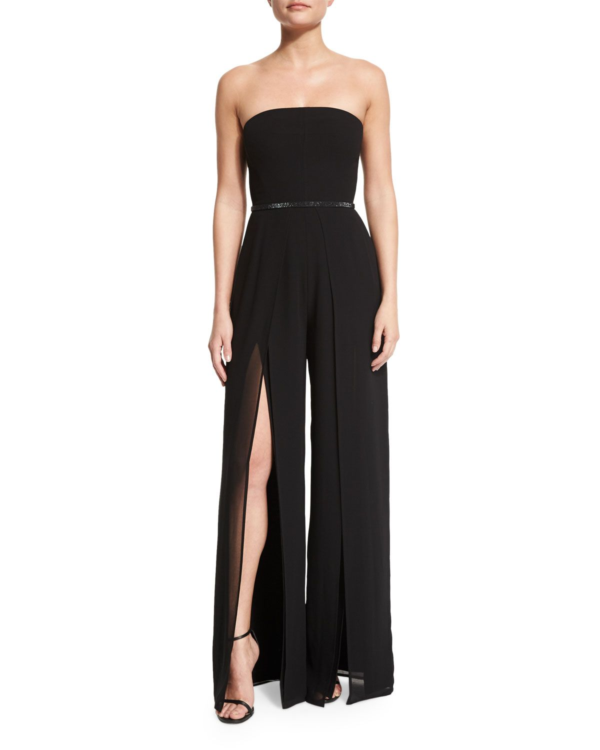 e627808891a Strapless Belted Wide-Leg Jumpsuit w Thigh-High Slits