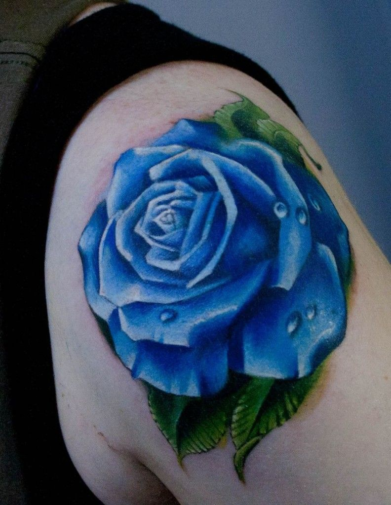 rose tattoo sleeve with blue waves Roses Tattoos