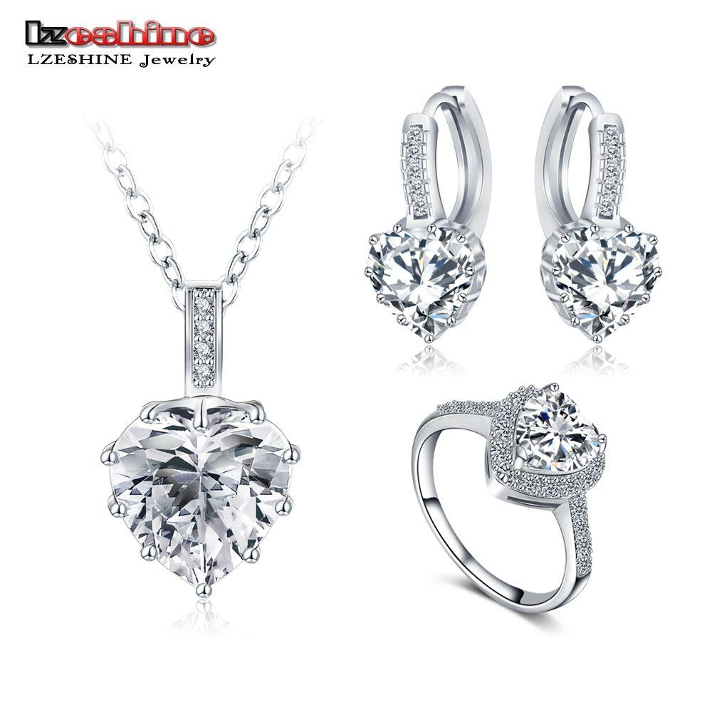 Lzeshine nieuwe fijne 2016 vrouwen romantische hartvorm aaa zirkoon bruiloft sieraden earring/ketting/ring bruids sieraden set cst0033
