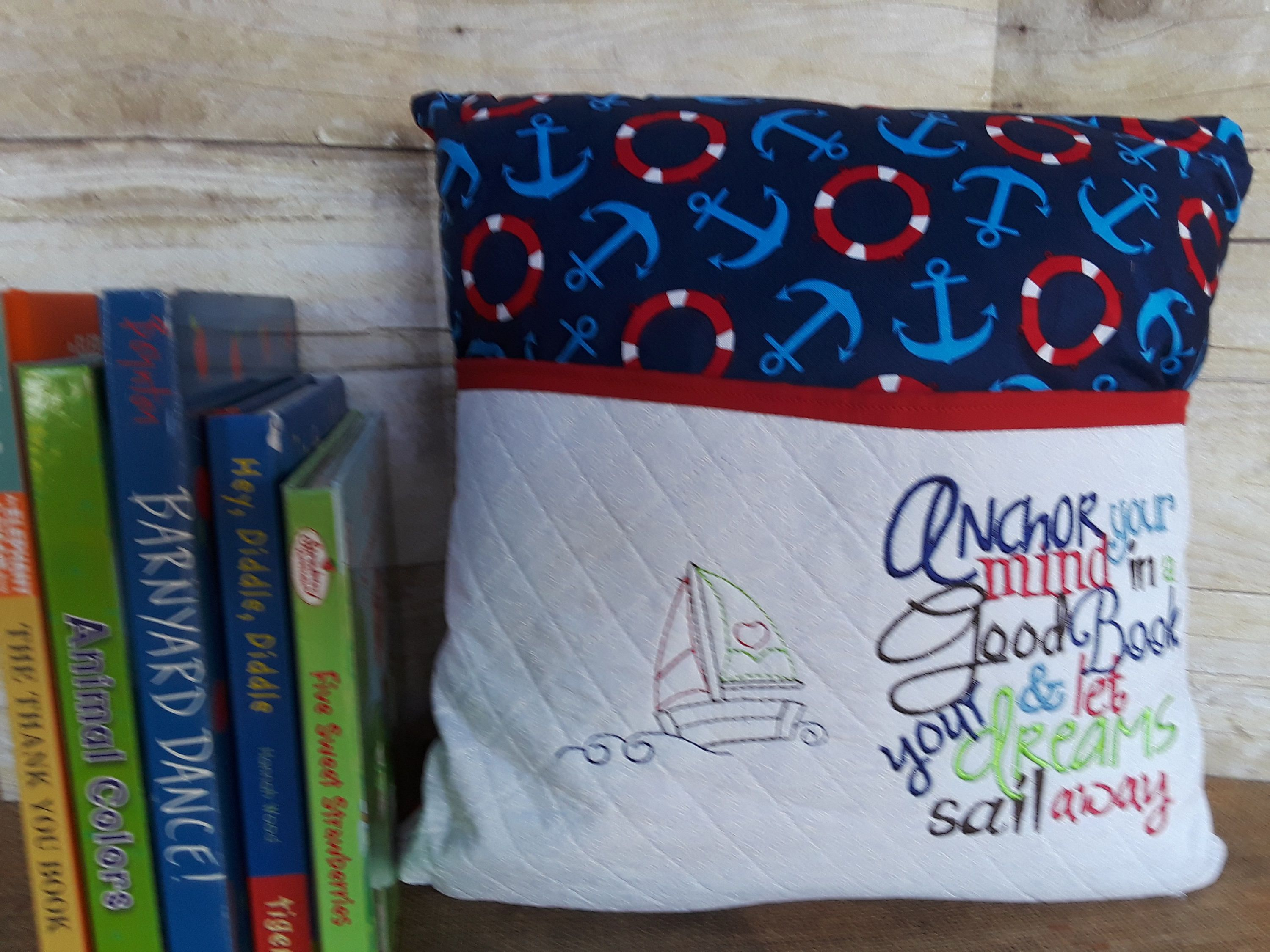 Nautical Reading Pillow Book Pocket Boy Gift For Readers Kid Birthday Kids Sailing