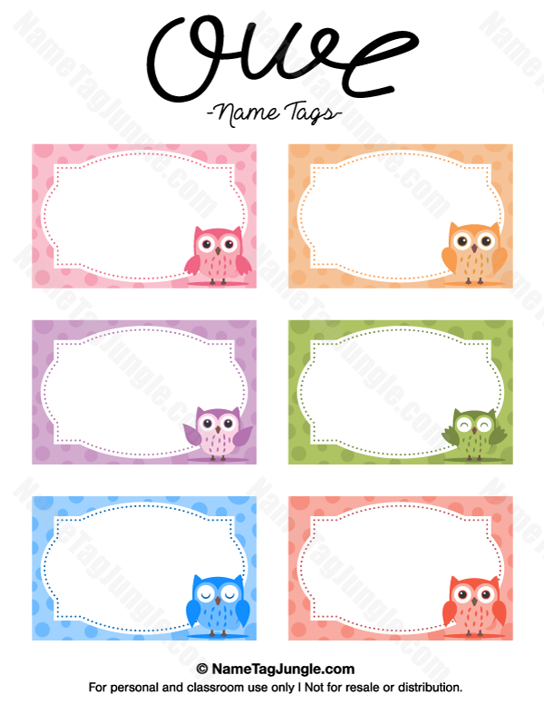Free printable owl name tags the template can also be for Free name tag templates for kids