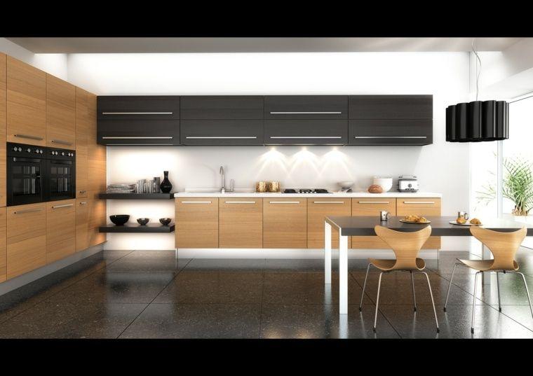 cuisine noire et bois moderne et lgante - Cuisine Noir Et Bois