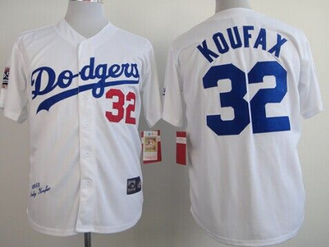 uk availability bb29c 76c22 Los Angeles Dodgers #32 Sandy Koufax 1955 Hall of Fame White ...