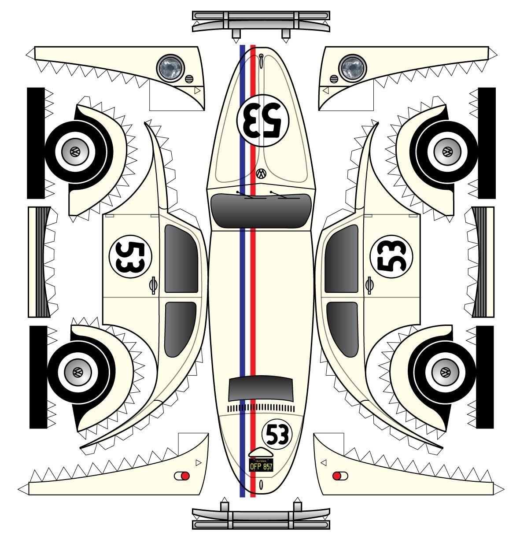 Herbie printable | carros armables | Pinterest | Papel, Maquetas y ...