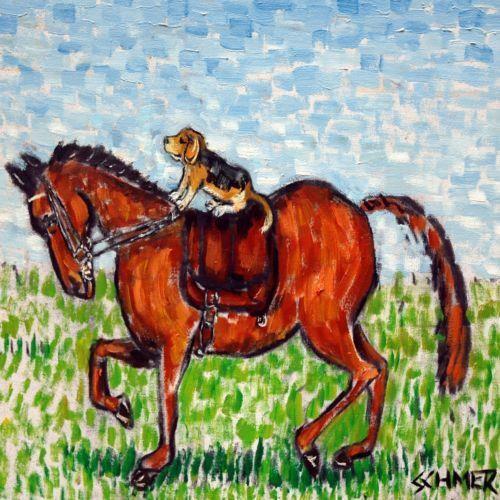 beagle horse dressage art tile coaster gift new impressionism artist animals