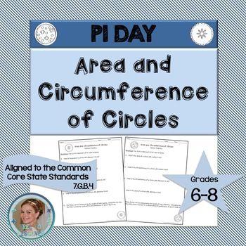 Pi Day Math Activity Area And Circumference Of Circles Math