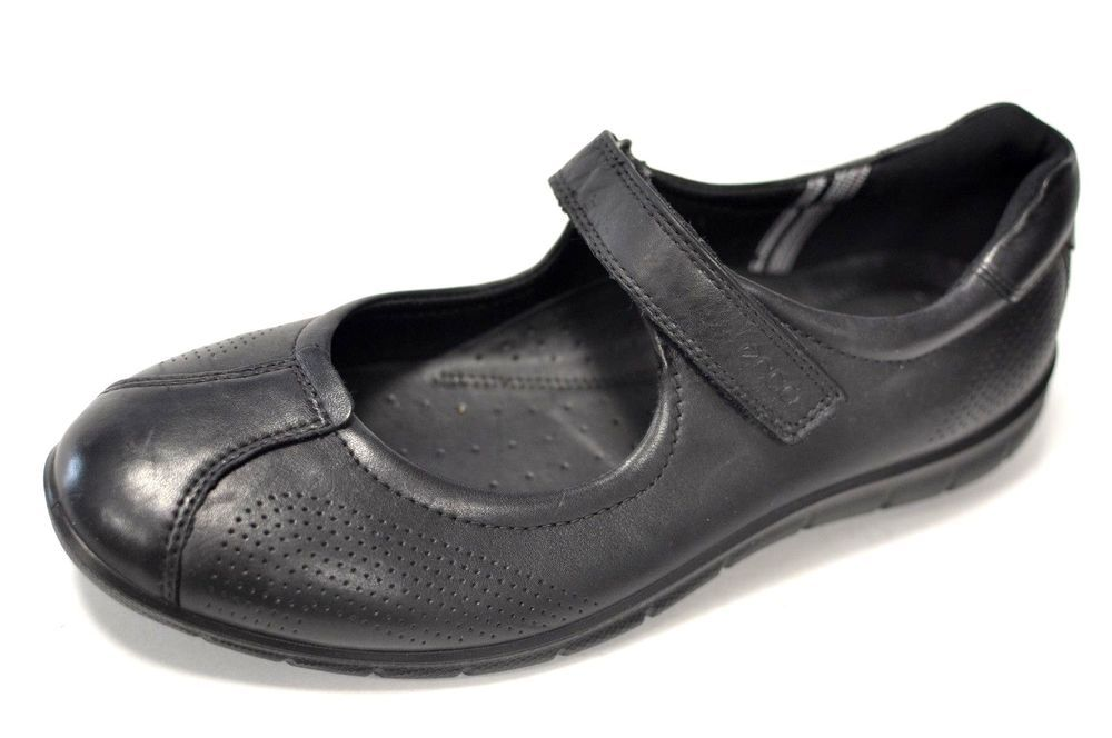 ECCO Women's Black Leather Mary Jane Shoes Eur 40 US Size 9-9.5