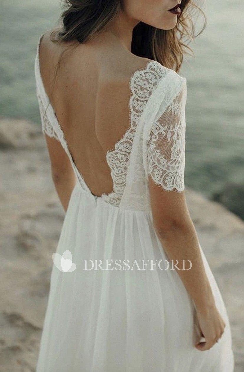 Bohemian Sheath Bateau Wedding Dress With Short Sleeve And Lace Open Back Dr Short Sleeve Wedding Dress Wedding Dresses Vintage Bohemian Bateau Wedding Dress [ 1262 x 828 Pixel ]