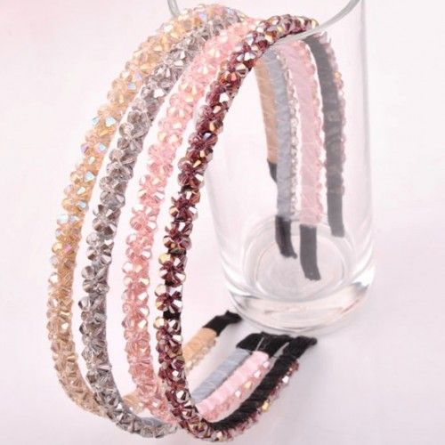 Genuine dignified all-match -a variety of colors to choosehand-woven bright beautiful double row crystal hairband Headband
