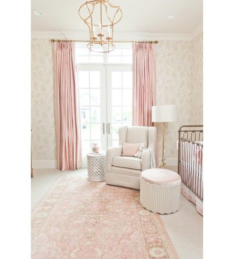 Vintage Inspired Classic Soft Pink Nursery: Pretty Faded Florals Add Victorian Vintage Style To A