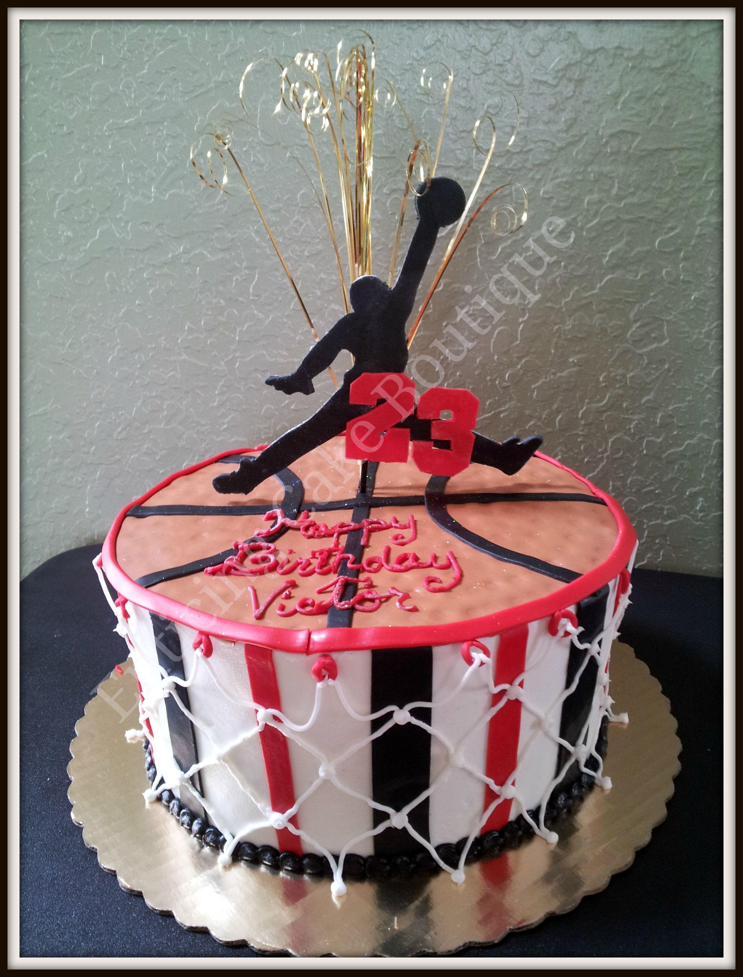 Jordan basketball birthday cake made of fondant and buttercream