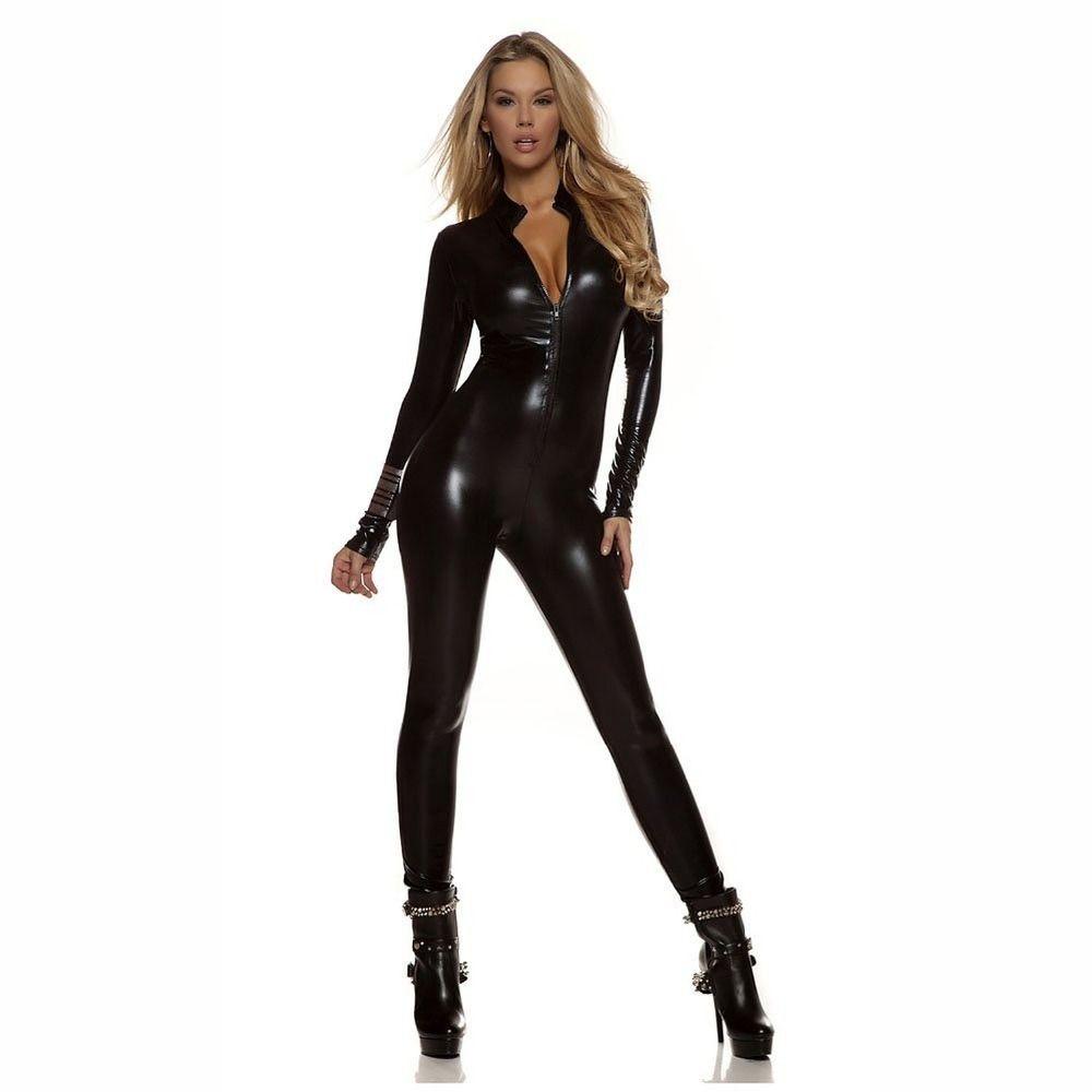 Black Catsuit Costume Bodysuit Zip Up Front Women Plus Size Long Sleeve  Spandex Lycra Black Catsuit