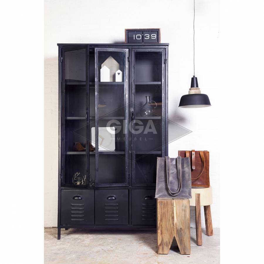 Industriele Kast Giga Meubel.Vitrinekast Industrieel 3 Deurs Zwart Iron Cabinet