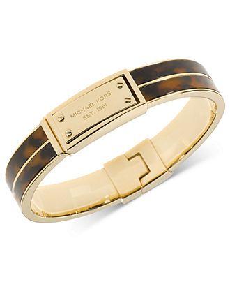 Michael Kors Bracelet, Gold-Tone Tortoise Logo Plate Hinged Bracelet - Statement Bracelets - Jewelry & Watches - Macys