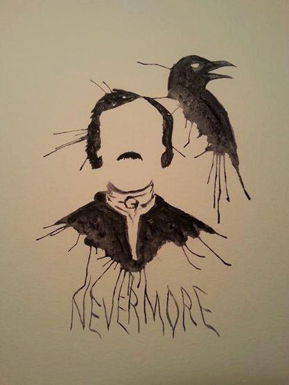 Minimalist Raven Tattoo: Edgar Allan Poe Nevermore Raven Watercolor By