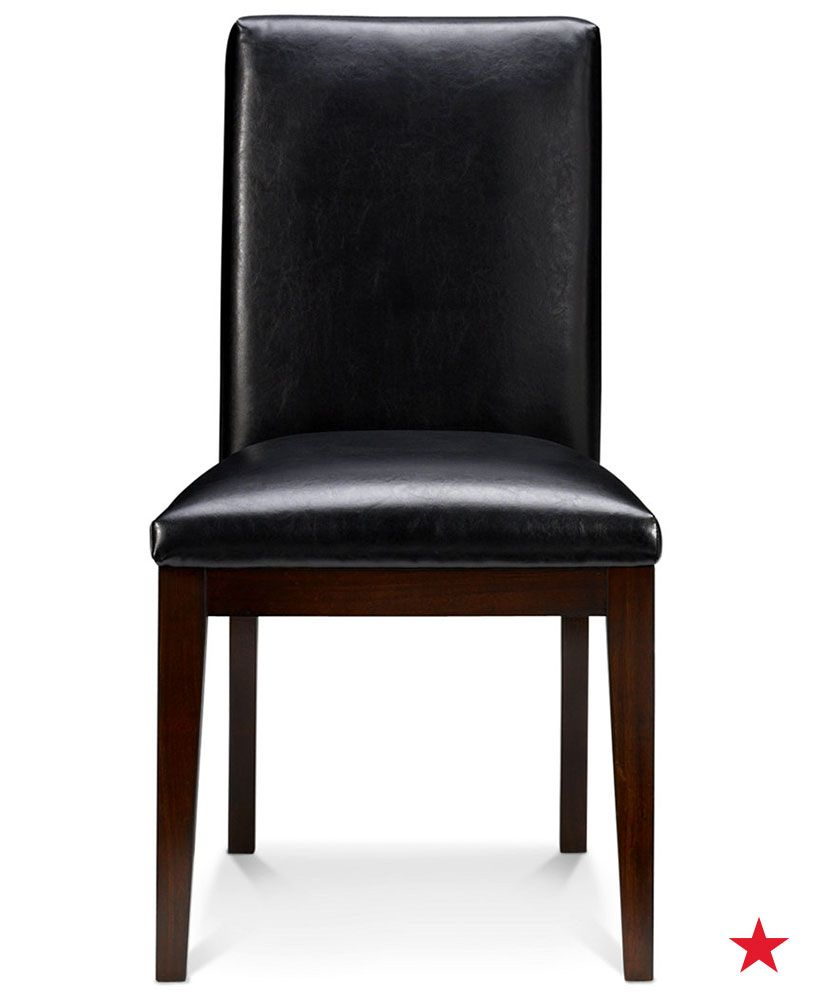 Bari Dining Chair Black Leather Dining Room Chairs Furniture Macy S Leather Furniture Decor Black Leather Dining Chairs Black Leather Dining Room Chairs