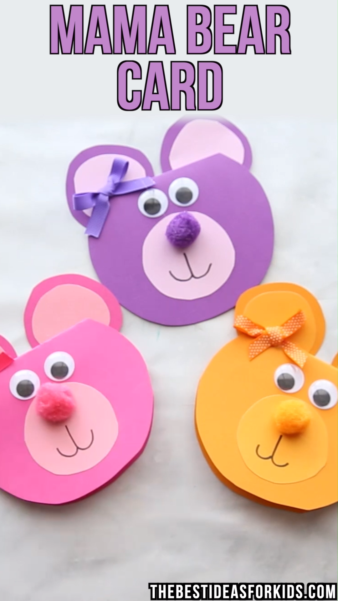 MAMA BEAR CARD   - such a cute card for Mother's Day! Grab the free printable template. An easy Mother's day craft for kids!