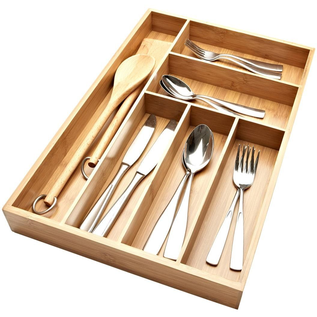 Ksp Organize It Bamboo Cutlery Tray Natural Natural Kitchen