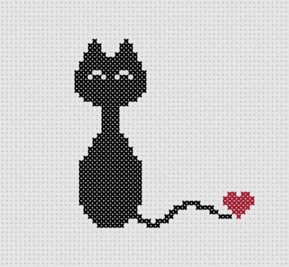 Kitty Love Cross Stitch Printable Pdf Pattern