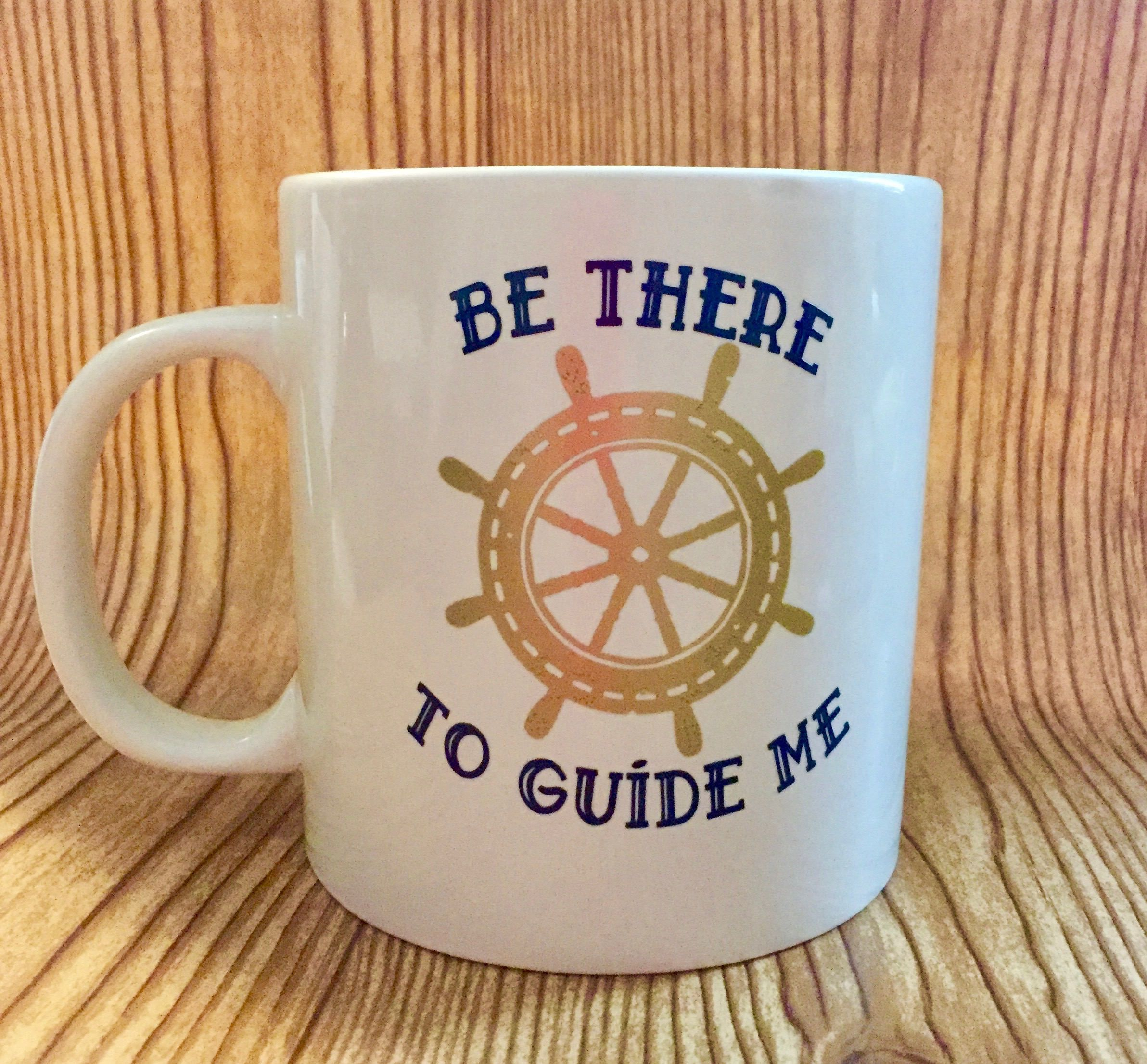 Nautical Themed 20oz White Stoneware Coffee Mug With Navy Blue Print Gold Anchor Wheel And Sentiments Printed On Both Sides By Tmangstreasures