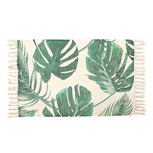Cotton Printed Rug Seavish Decorative Palm Tree Leaves H