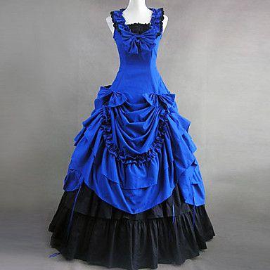 Hihaton Floor-length Sininen puuvilla Victorian Gothic Lolita Dress - USD $ 119.99