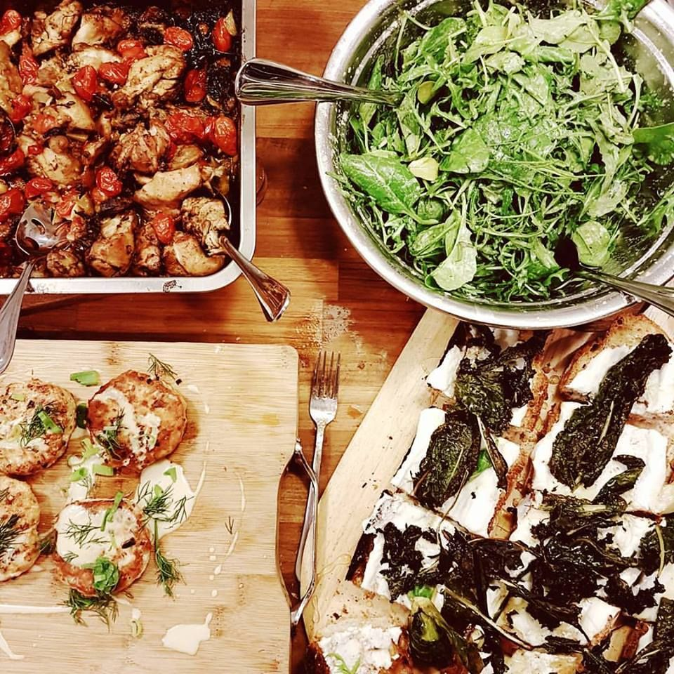 Erwan Heussaf: Quick dinner prep: Salad, whipped Chevre toast, salmon cakes, roast vegetables and chicken. Simple and tasty.