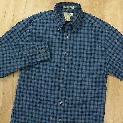 BEAN wrinkle resistant shirt SMALL tag blue plaid checks cotton (ebay link)
