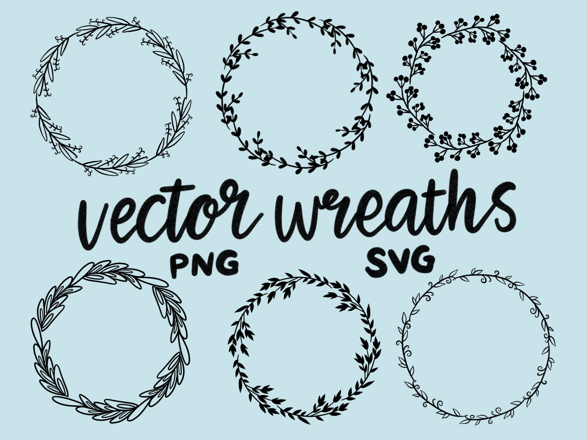 Photo of VECTOR FORCES, hand drawn wreaths, doodle clipart, rustic, drawn wreaths, PNG, SVG, cricut wreaths, wedding, laurels, wreath illustrations