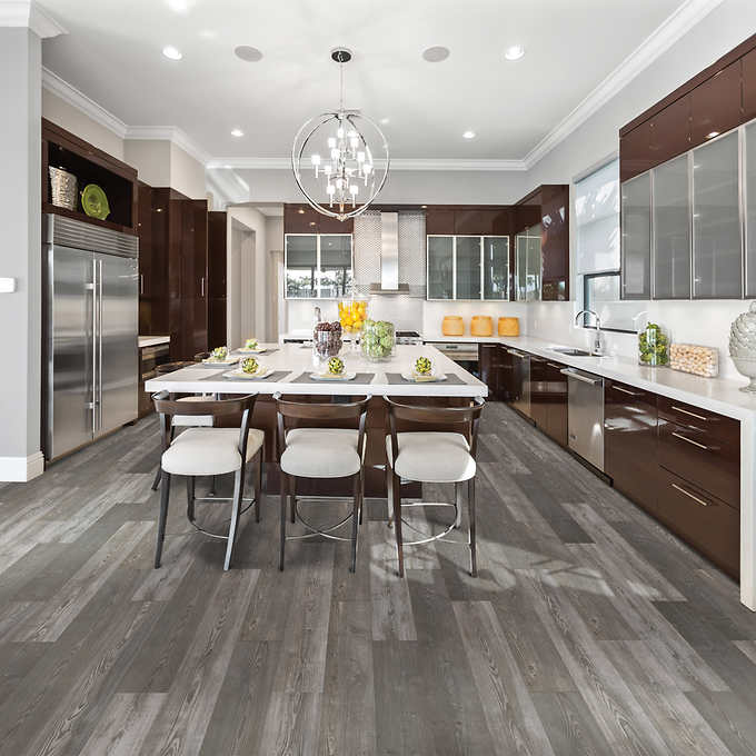 Mohawk Home Harmony Pine 10mm Thick Laminate Flooring With Splashdefense Technology 2mm Pad Attached In 2020 Mohawk Home Grey Flooring Flooring