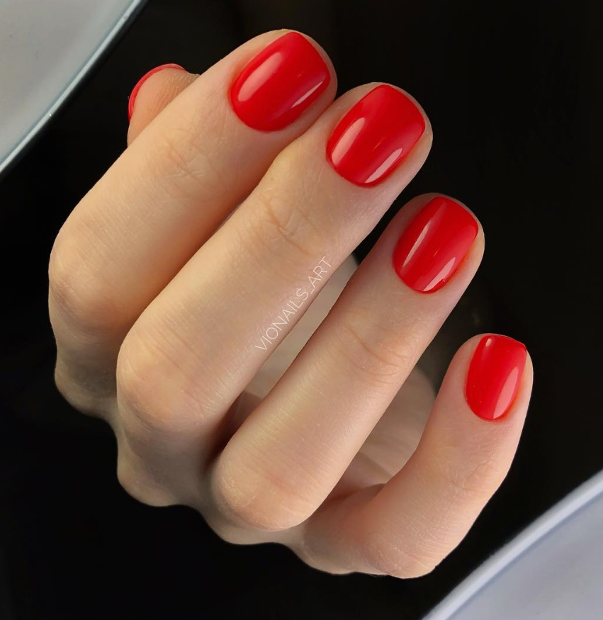 48 Stunning Red Acrylic Short Square Nails Design For Prom Short Square Nails Red Nail Designs Square Nail Designs