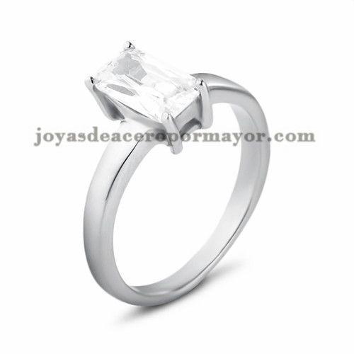 anillo con cristal de plateado en acero para mujer-SSRGG11475