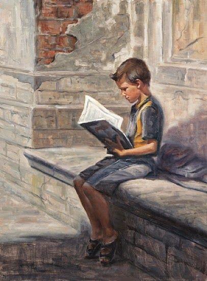 Waiting for the schoolbus. Reading and Art: Irina Kirienko Milton