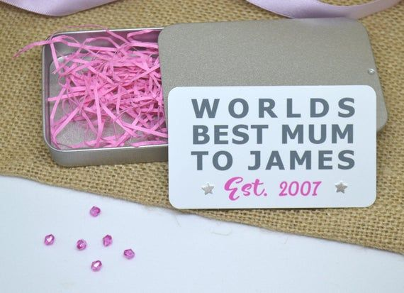 Worlds Best Mum Nan Nanny etc Sterling Silver .925 Star Or Heart Earrings with Personalised Metal Gi #mumsetc
