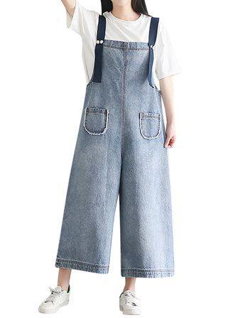 60179262e96 Casual Women Strap Pockets Wide Leg Denin Jumpsuits Jeans Jumpsuit