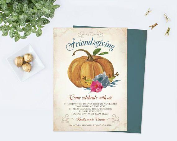 Friendsgiving Invitation Template Pdf Thanksgiving Dinner Invite Give Thanks Editable Ins