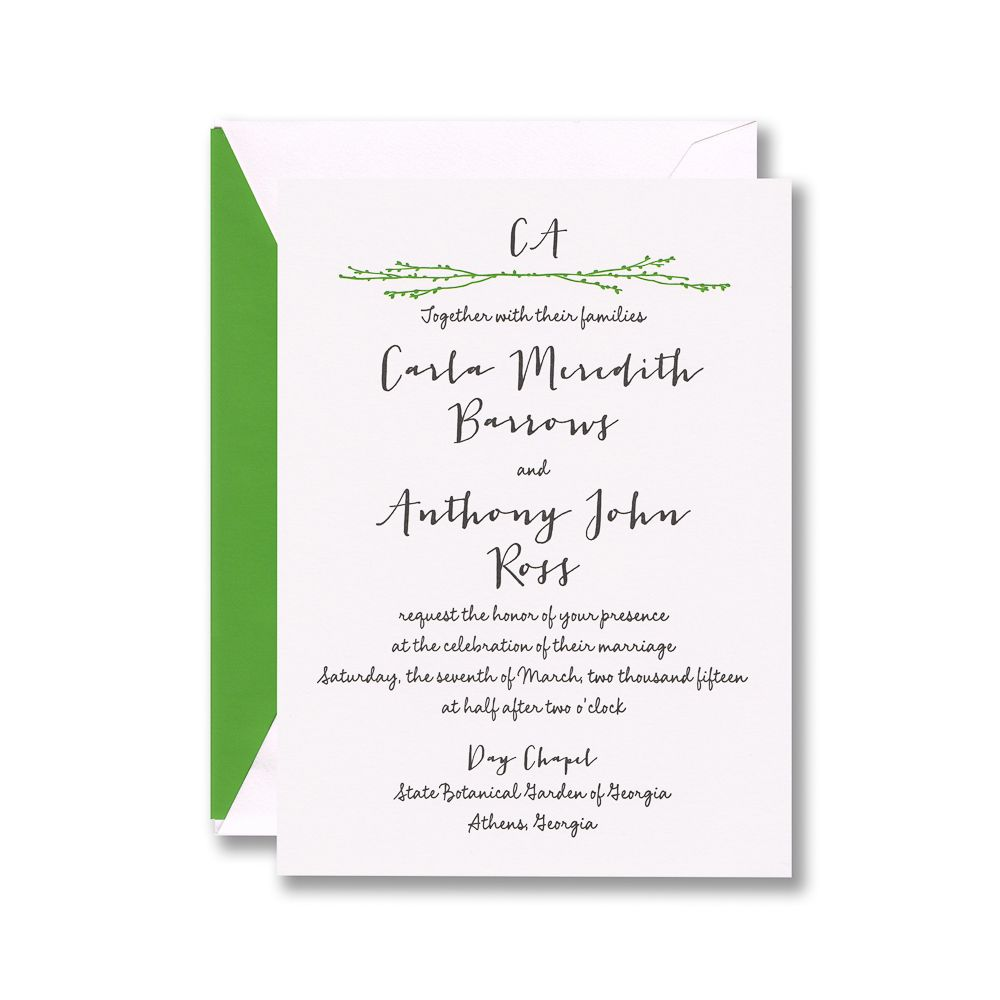 Letterpress invitation on Lettra paper with a branch motif and black ...