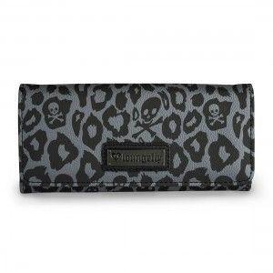 Loungefly Black/Grey Skull Leopard Trifold Wallet - Purple Leopard Boutique