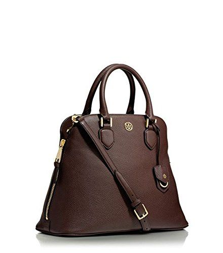 Tory Burch Satchel Handbag Pebbled Leather Robinson Dark Walnut ...