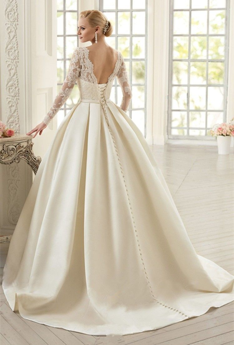 Elegant ivory lace wedding dresses long sleeves soft satin wedding