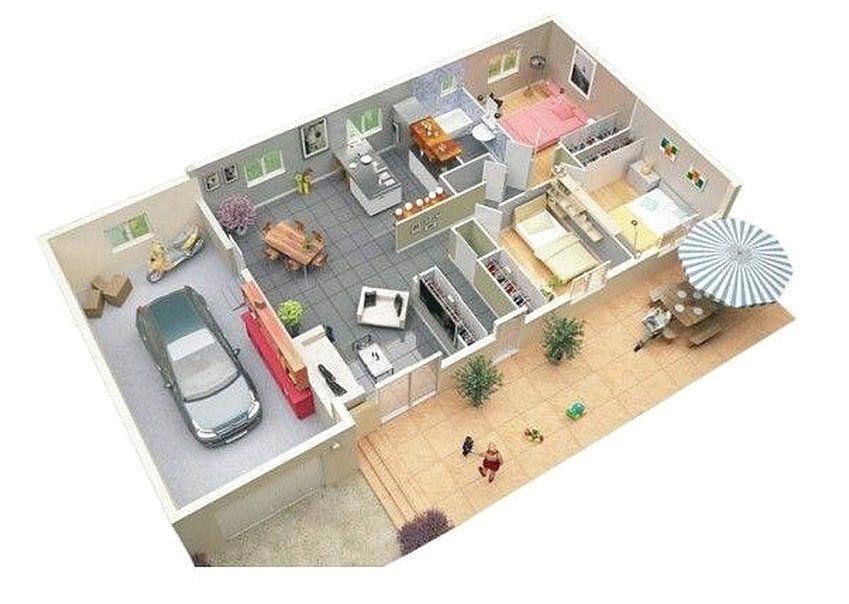 Denah Rumah Minimalis 3 Kamar Tidur Terbaru 3D