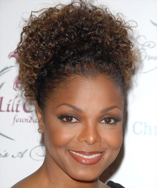 janet jackson updo long curly casual updo hairstyle | curly updo
