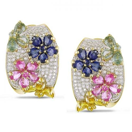 These 14-karat yellow gold earrings feature multi-colored sapphires in flower patterns accented by white diamonds.