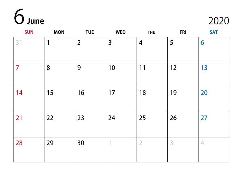 シンプルなデザインのa4サイズ横向きの2020年6月カレンダー画像素材です 2020 12月カレンダー 6月 カレンダー カレンダーテンプレート