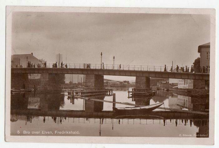 Østfold fylke Fredrikshald -Halden - Bro over elven ca 1900 Utg E. Güssow, Fredrikshald