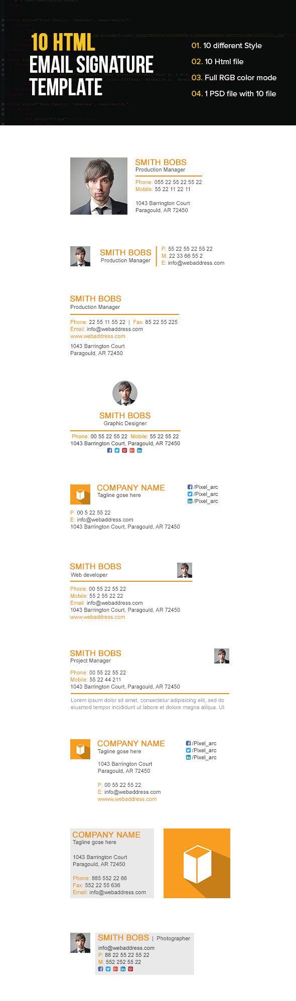 Responsive Email Signature Template | Email signature templates ...