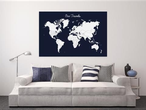 Travel tracker canvas world map pins included choose size travel tracker canvas world map pins included choose size color gumiabroncs Images