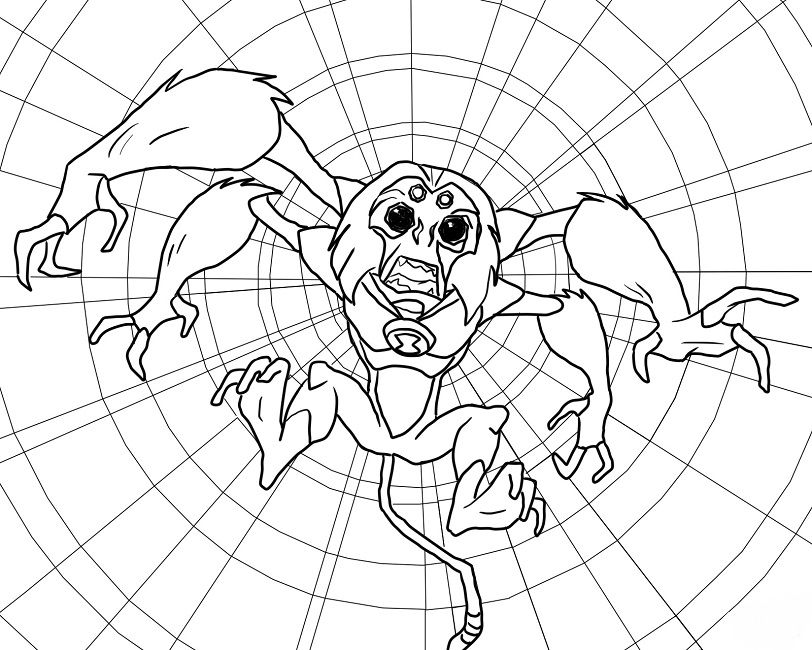 ben 10 coloring pages spider monkey