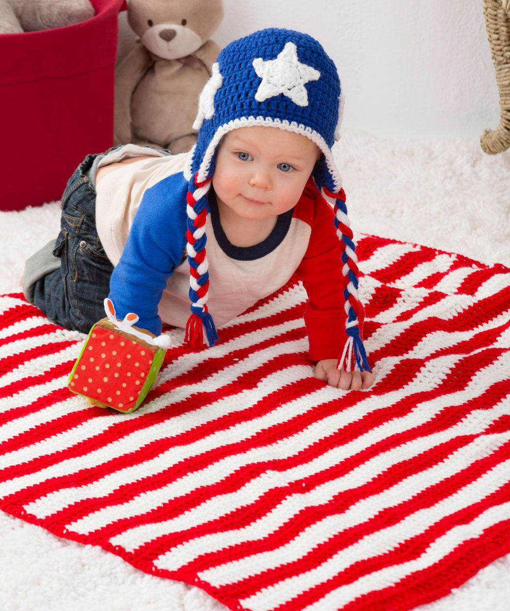 Patriotic stripes blanket hat crochet pattern red heart red patriotic stripes blanket hat crochet pattern red heart bankloansurffo Image collections